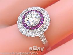 ESTATE ART DECO 1.10ct EURO DIAMOND RUBY PLATINUM ENGAGEMENT RING