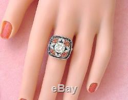 ESTATE ART DECO 1.56ct DIAMOND BLACK ONYX CORAL PLATINUM CUSHION COCKTAIL RING