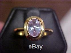 ESTATEBEZEL SET 1.00ct LAVENDER SAPPHIRE SOLITAIRE RING18K YELLOW GOLDs7.25