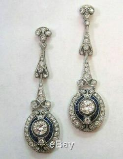 Earrings 3.00 Ct Diamond Dangle Antique Vintage Art Deco 14K Gold Over Era 1935