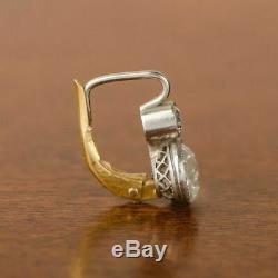 Earrings Antique Vintage Art Deco 14K White Gold Over 2 Ctw Diamond Halo 1920's