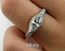 East West Vintage Retro Engagement Wedding Ring 14K White Gold Over 3 Ct Diamond