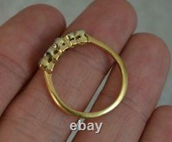 Edwardian 18 Carat Gold Old Cut Diamond & Sapphire Stack Band Ring d0415