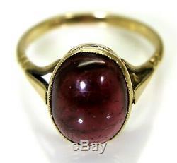 Edwardian Garnet Cabochon 9ct Rose Gold Ring size O 7 1/4