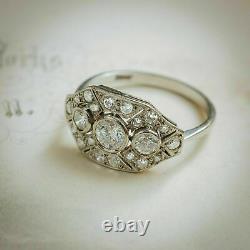 Edwardian Vintage Art Deco Ring Engagement Ring 14k White Gold Over 2 Ct Diamond