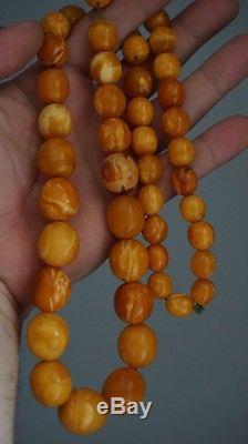 Egg yolk EXELLENT ANTIQUE amber Beads BALTIC AMBER Necklace 85 grams