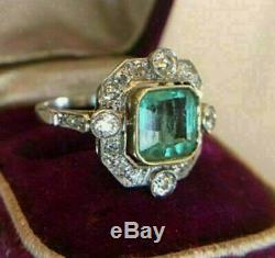 Engagement Ring Vintage Art Deco 2.0Ct Green Asscher Diamond 14K White Gold Over