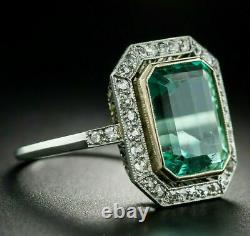 Engagement Vintage Art Deco Green Sapphire Ring 14K White Gold Over 5 Ct Diamond
