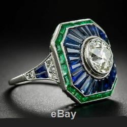 Engagement Wedding Ring Sapphire Victorian 2.1Ct Round Diamond 14K White Gold Fn