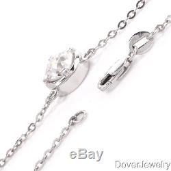 Estate 1.33ct Solitaire Diamond Platinum Pendant Necklace 5.3 Grams NR