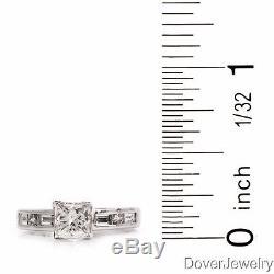 Estate 1.65ct Princess cut Diamond 14K White Gold Engagement Ring NR