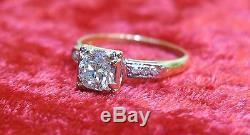 Estate 14k Gold Old European Mine. 70 Round Cut Diamond Engagement Ring Sz-6