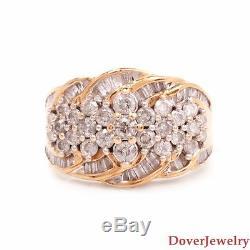 Estate 2.25ct Diamond 14K Yellow Gold Cluster Ring 10.8 Grams NR