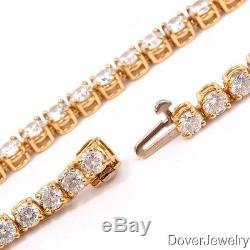 Estate 21.00ct Diamond 18K Yellow Gold Tennis Necklace 34 Grams NR