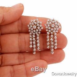 Estate 3.20ct Diamond 18K Gold Platinum Dangle Drop Earrings 18.1 Grams NR
