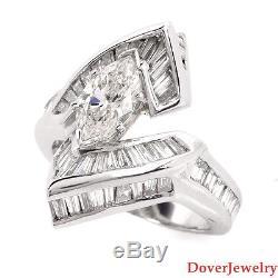 Estate 4.74ct Marquise Diamond Platinum Engagement Ring 13.7 Grams NR