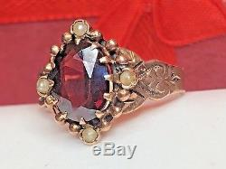 Estate Antique 10k Rose Gold Victorian Red Garnet Seed Pearl Ring Gold Beading