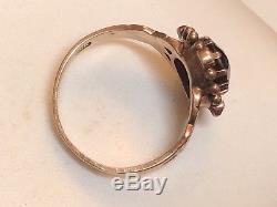 Estate Antique 10k Rose Gold Victorian Red Garnet Seed Pearl Ring Gold Beading