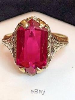 Estate Antique 14k Gold Victorian Pink Sapphire Ring Art Deco Wedding