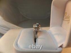 Estate Antique 18k White Gold round brillant Diamond Solitaire Filigree Ring