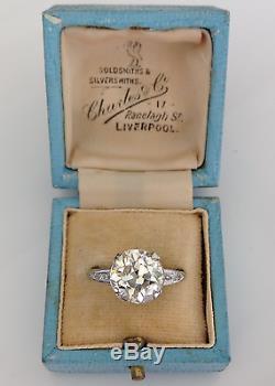 Estate Antique 3.84 CTW Old European Cut Diamond Platinum Engagement Ring