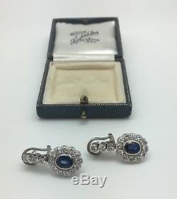 Estate Antique 7.5 CTW Ceylon Sapphire & Diamond Platinum Earrings 10.7 Grams