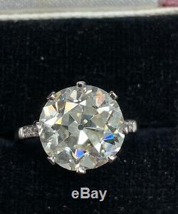 Estate Antique Art Deco old European cut Diamond 5.12 CTW Engagement Ring Plat