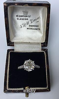 Estate Antique Old European Cut Diamond 3.20 CTW Platinum Engagement Ring