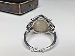 Estate Antique Platinum 6.95CTW Australian Opal & Diamond Cocktail Cocktail Ring