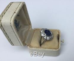 Estate Art Deco 7.34CTW GIA Burmese Sapphire Old European Diamond Platinum Ring
