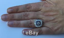 Estate Art Deco Platinum 1.95 CTW Old European Diamond Sapphire Engagement Ring