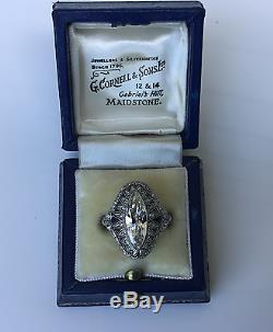 Estate Art Deco Platinum 3.30 CTW Old European Diamond Sapphire Engagement Ring