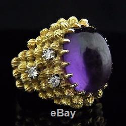 Estate Cocktail Dome Ring Amethyst Diamond 18k Yellow Gold Vintage Mid Century