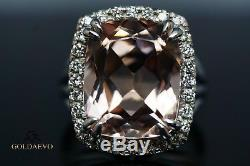 Estate Cushion Cut Morganite Natural Diamonds Halo Ring White Gold 14k 8.44 ct