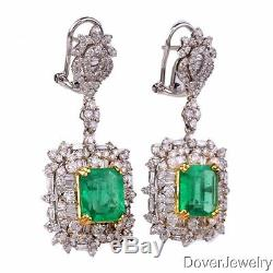 Estate Diamond 10.70ct Green Emerald 18K Gold Dangle Earrings 11.5 Grams NR