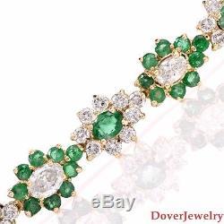 Estate Diamond 14.70ct Emerald 14K Gold Flower Link Bracelet 24.6 Grams NR