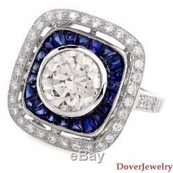 Estate Diamond 2.75ct Sapphire 18K White Gold Engagement Ring 6.1 Grams NR