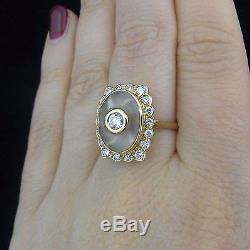 Estate Diamonds Carved Rock Crystal 18k Yellow Gold Cocktail Ring Vintage
