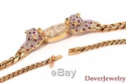 Estate Floating Diamond 2.12ct Ruby Emerald Panther Necklace 54.6 Grams NR