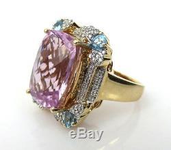 Estate GIA Certified 16.13ct Kunzite 0.60ct Diamond & Topaz 14K Gold Ring