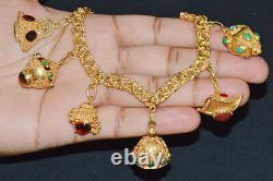 Estate Italian Etruscan Solid 18K Gold Coral Emerald Garnet Charm Fob Bracelet