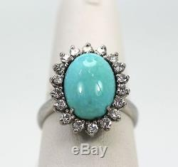 Estate Persian Turquoise Set Ring And Earrings Surrounded By Diamonds 18+ Carats