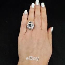 Estate Sapphire Diamond 14k White Gold Cocktail Ring Baguette Round Gift Vintage