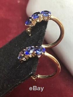 Estate Vintage 14k Gold Blue Sapphire Hoop Earrings Gemstone Designer Signed Mo