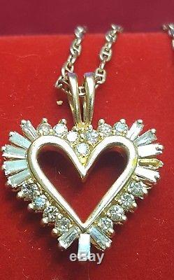 Estate Vintage 14k Gold Encrusted Genuine Diamond Heart Pendant Necklace Italy