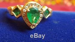 Estate Vintage 14k Gold Natural Genuine Green Emerald Gemstone & Diamond Ring