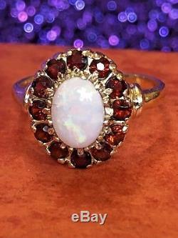 Estate Vintage 14k Gold Opal Red Garnet Gemstone Ring Flower Designer Signed Jj