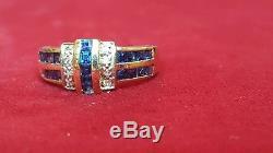 Estate Vintage 14k Gold Princess Cut Blue Sapphire & Diamond Ring Band Gemstone
