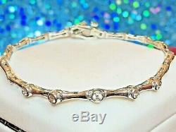 Estate Vintage 14k White Gold Genuine Natural Diamond Bracelet Bezel Set