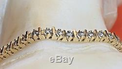 Estate Vintage 14k Yellow Gold Genuine Natural Diamond Bracelet Tennis